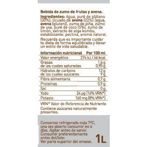 Zumo refrigerado de  piña,coco y avena via nature pet 1l