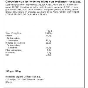 Chocolate con leche y avellanas milka 125g