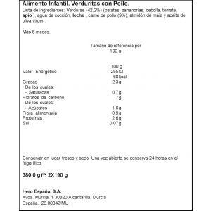 Tarrito  pollo verd b.noches hero  p2x190g