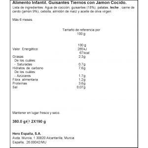Tarrito  guisant jamon b.noches hero  p2x190g