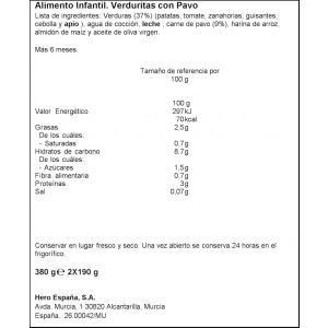 Tarrito  verd pavo b.noches hero  p2x200g
