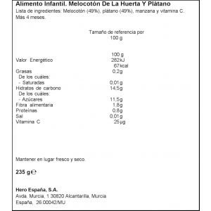 Tarrito  melocoton platano hero  235g