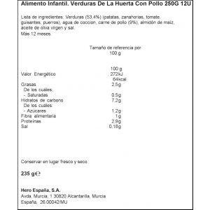 Tarrito  pollo ternera verduras hero  235g