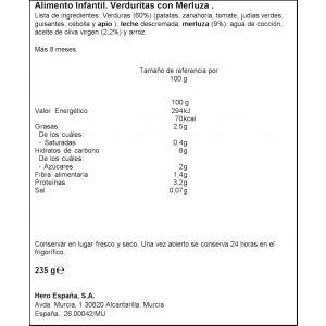 Tarrito verduritas merluza hero 235g
