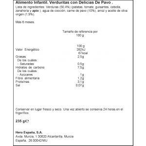 Tarrito  pavo verduras hero  235g
