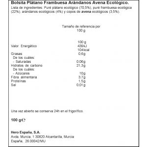 Pouch platano frambuesa arandano y avena eco organix 100g