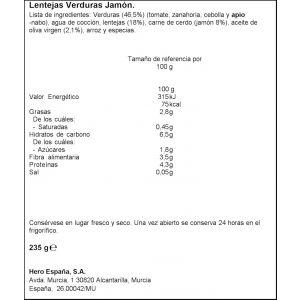 Tarrito trocitos lentejas verdura jamon hero 235g