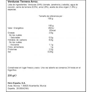 Tarrito trocitos verdura ternera arroz hero 235g