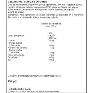 Legumbre  quinoa brillante benefit vaso 200g