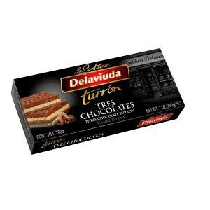 Turron tres chocolates delaviuda 300g