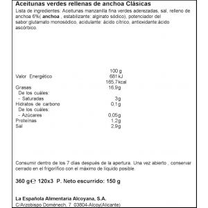 Aceituna rellena de anchoa española  p3x50g
