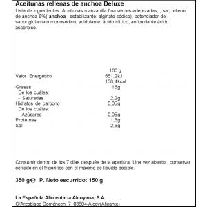 Aceituna rellena anchoa deluxe la española 150gr