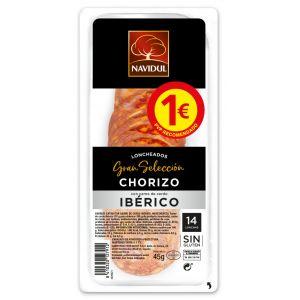 Chorizo ibérico navidul lonchas 45gr pvp 1,00 euros
