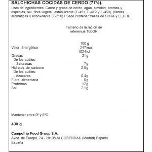 Salchichas gran bratwurst campofrio 400 gr