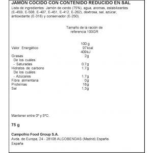 Jamon cocido campofrio cuidate 75gr