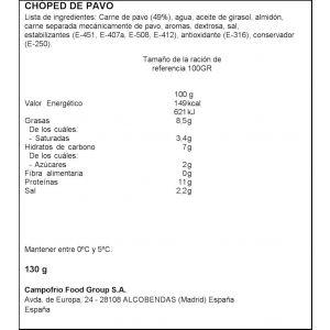 Chopped de pavo campofrio lonchas 130g 1e