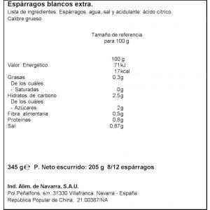 Espárrago bcos 8/12 carretilla t 205gne