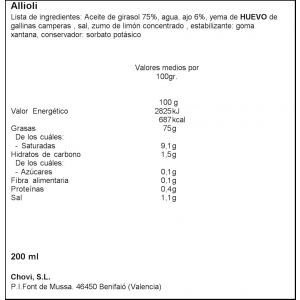 Salsa alioli chovi tarro 200ml