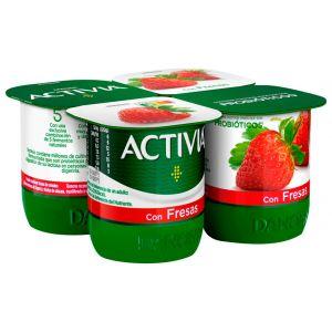 Yogur con fresas activia p-4x120g