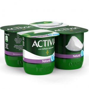 Yogur desnatado natural activia p-4x120g