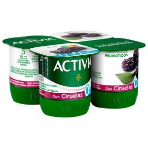 Yogur desnatado con ciruelas activia p-4x120g