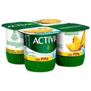 Yogur desnatado con piña danone p-4x120g