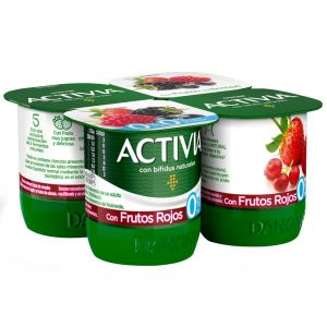 Yogur desnatado con frutos rojos danone p-4x125g