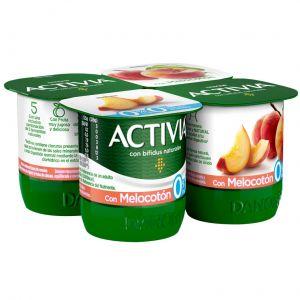 Yogur desnatado con melocoton activia p-4x125g