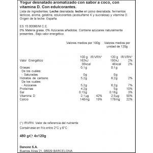 Yogur coco vitalinea p-4x120g