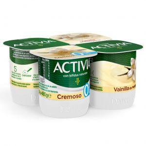 Yogur cremoso 0% vainilla activia p-4x120g