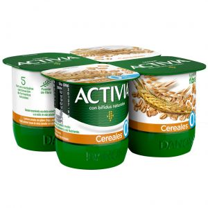 Yogur con cerales 0% activia pack de 4 unidades de 120g