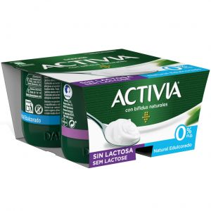 Yogur s/lactosa natural edulcorado activia p-4x125g