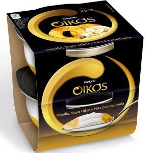 Yogur oikos de vainilla y piña danone pack de 2 unidades de115g