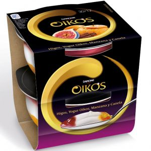 Yogur oikos con higo, manzana ycanela danone pack de 2 unidades de 115g