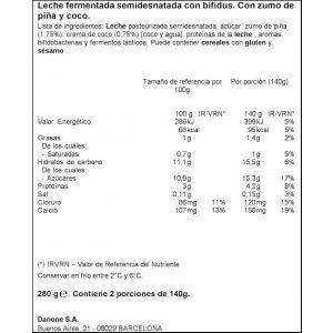 Yogur liquido piña-coco activia 280g