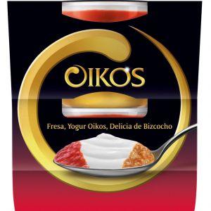 Yogur fresa delicia bizcocho oikos p2x 115g