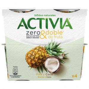 Yogur zero azuc piña coco activia p4x 115g