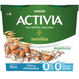 Yogur chia-almendra activia p4x 120gr