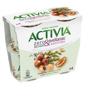 Activia zero azucar avellana-semillas danone p4x115g