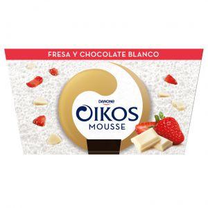 Mousse chocolate blanco y fresa oikos p4x55g