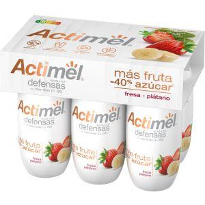Actimel menos azucar fresa-platano danone p6x100g