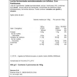 Yogur liquido frambuesa activia 550gr