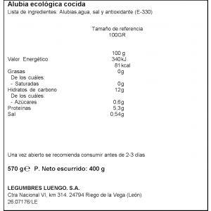 Alubia cocida ecologica luengo 570g