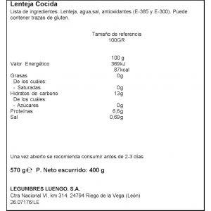 Lentejas cocidas luengo 570g