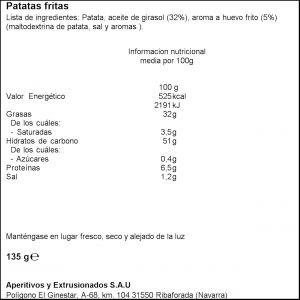 Patatas fritas huevos fritos vicente vidal  135g