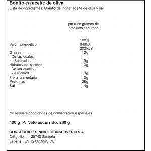 Bonito norte aceite oliva consorcio tarro 400 260g ne