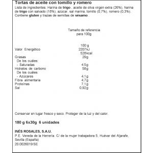 Torta  aceite romero/tomillo ines rosales  p6x180g
