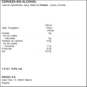 Cerveza sin alcohol 0,0% san miguel  p6x25cl