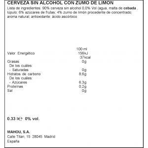 Cerveza sin alcohol 0,0% limon san miguel lata 33cl