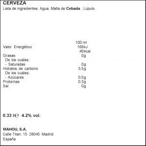 Cerveza 1516  san miguel botella 33cl